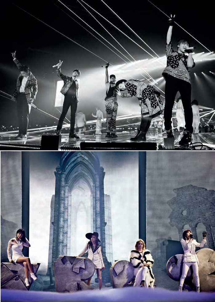 Two leading K-Pop idol groups: Big Bang (above) and 2NE1 (below)