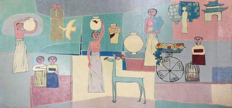 """Abgebildet ist das Gemälde """"Frauen und Krüge"""" von Kim Whanki"""
