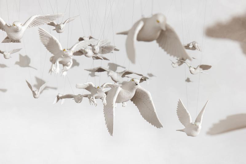 Koreanische Keramikarbeit 'White Forest' von Maeng Wook-jae auf der Mailänder Designwoche